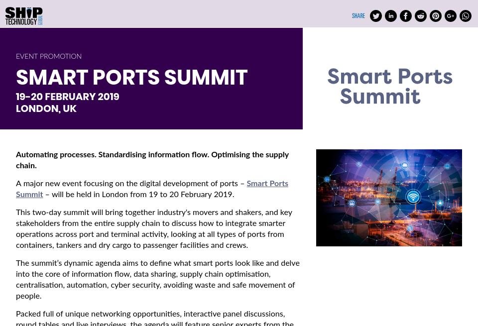 Smart Ports Summit - Ship Technology Global | Issue 62 | January 2019